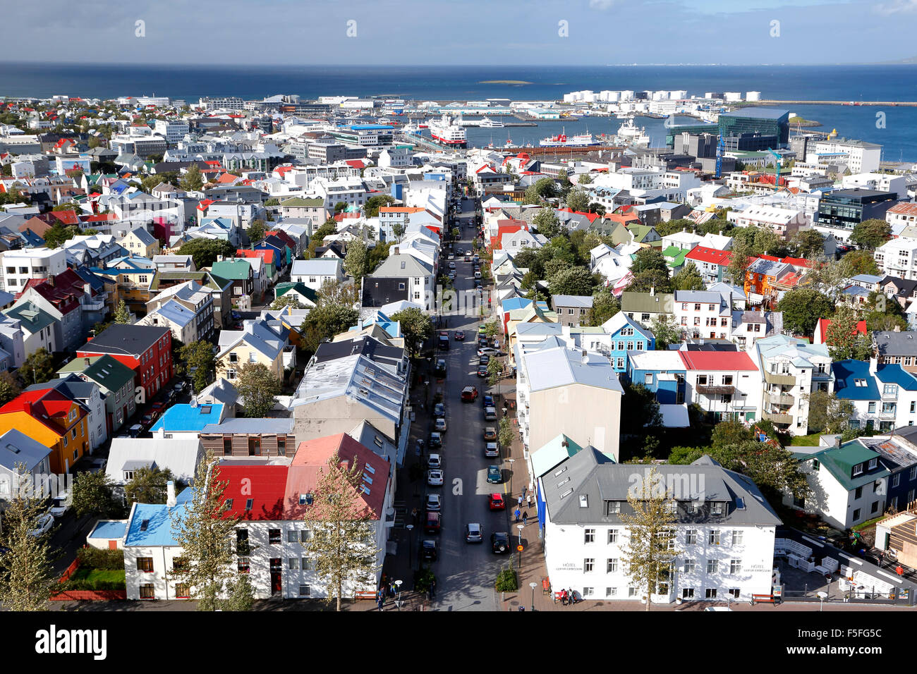 Aerial view of Reykjavik, Iceland - Stock Image