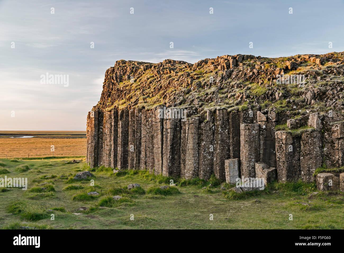 Columnar basalt outcrop, Dverghamrar (Dwarf Cliffs), near Foss, Iceland - Stock Image