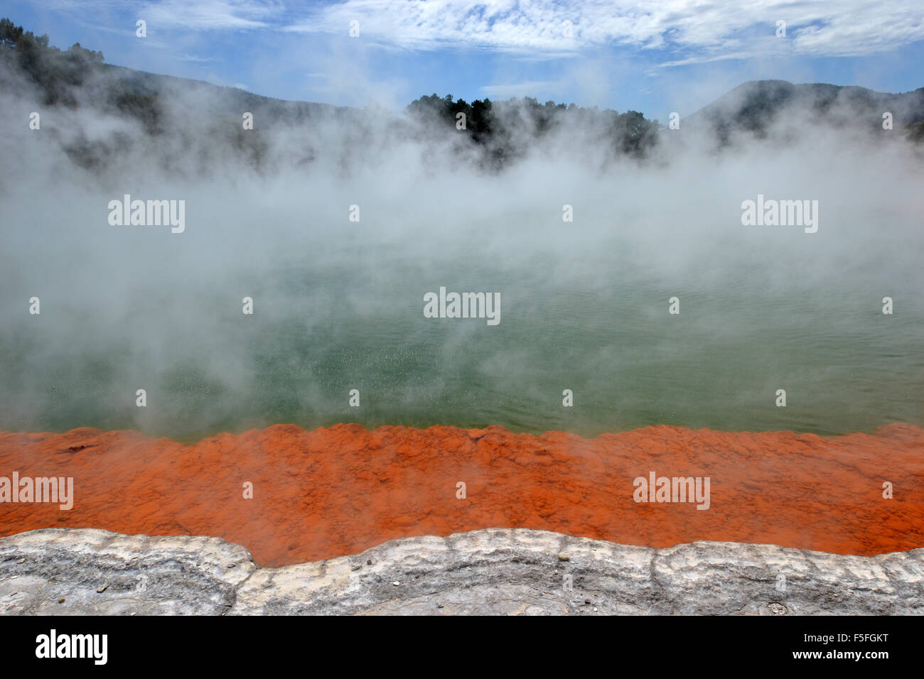 Champagne pool, Waiotapu Thermal Wonderland, Rotorua, North Island, New Zealand - Stock Image