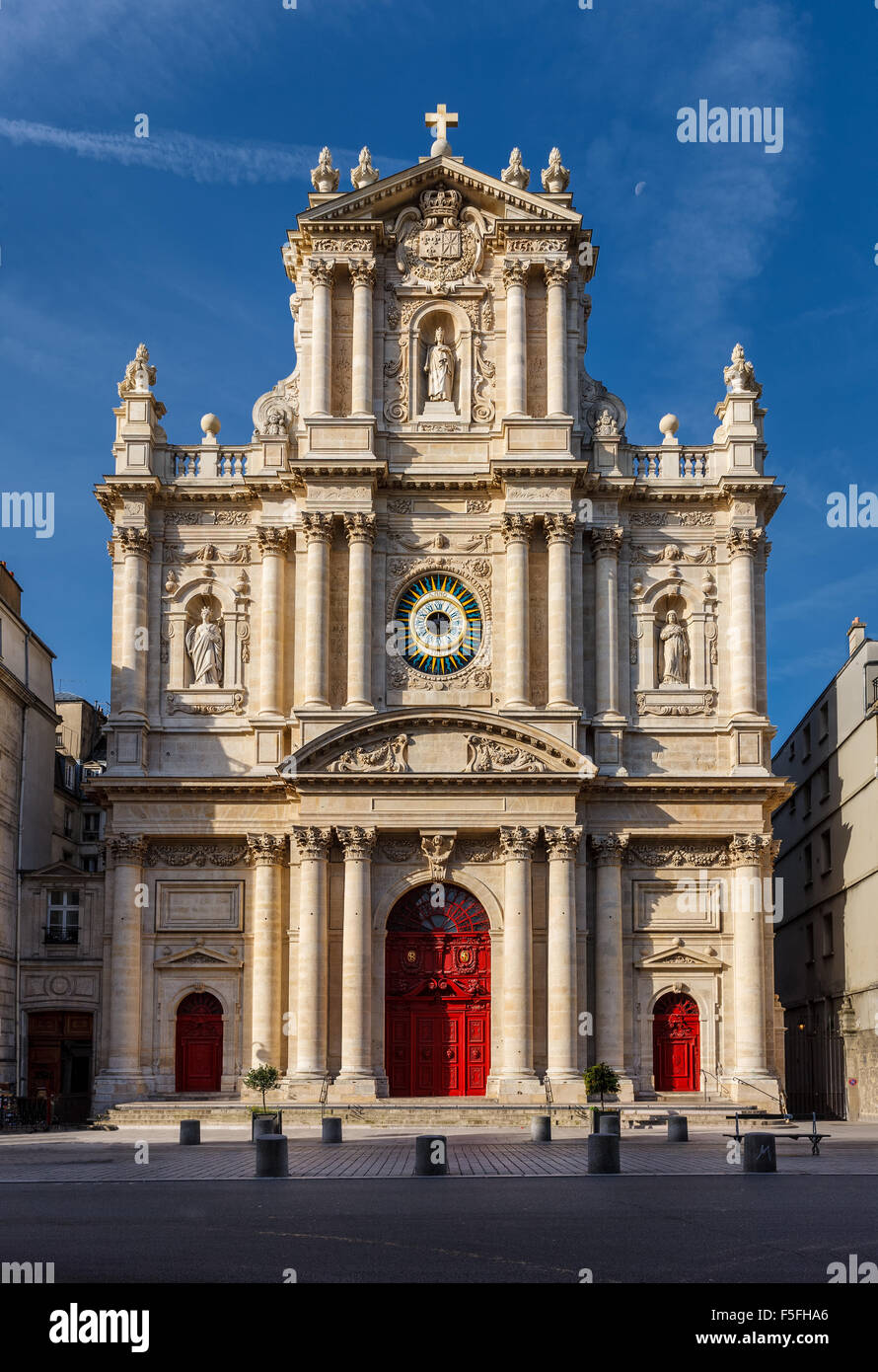 Facade of the church of Saint-Paul-Saint-Louis in the Marais neighborhood (4th arrondissement) of Paris, France. - Stock Image