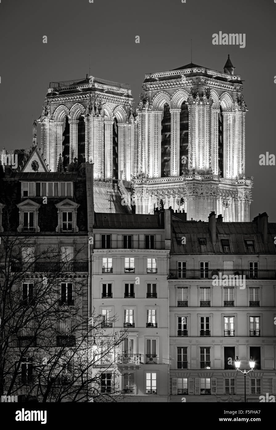 French Gothic towers of Notre Dame de Paris Cathedral illuminated at night. Ile de la Cite, 4th arrondissement, - Stock Image
