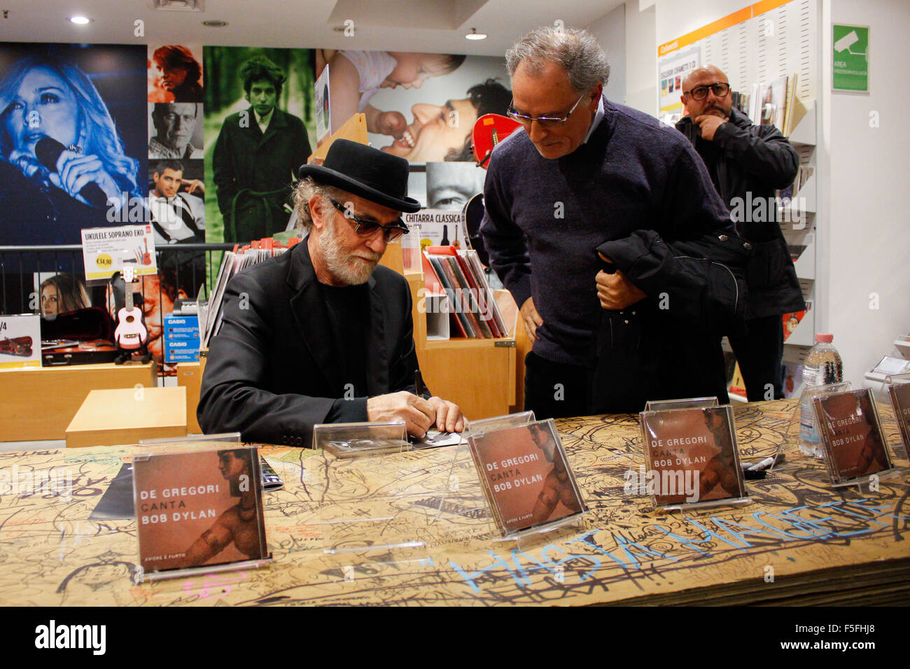 Turin, Italy. 03rd Nov, 2015. Italian singer-songwriter Francesco De Gregori has performed in a mini live at the Stock Photo