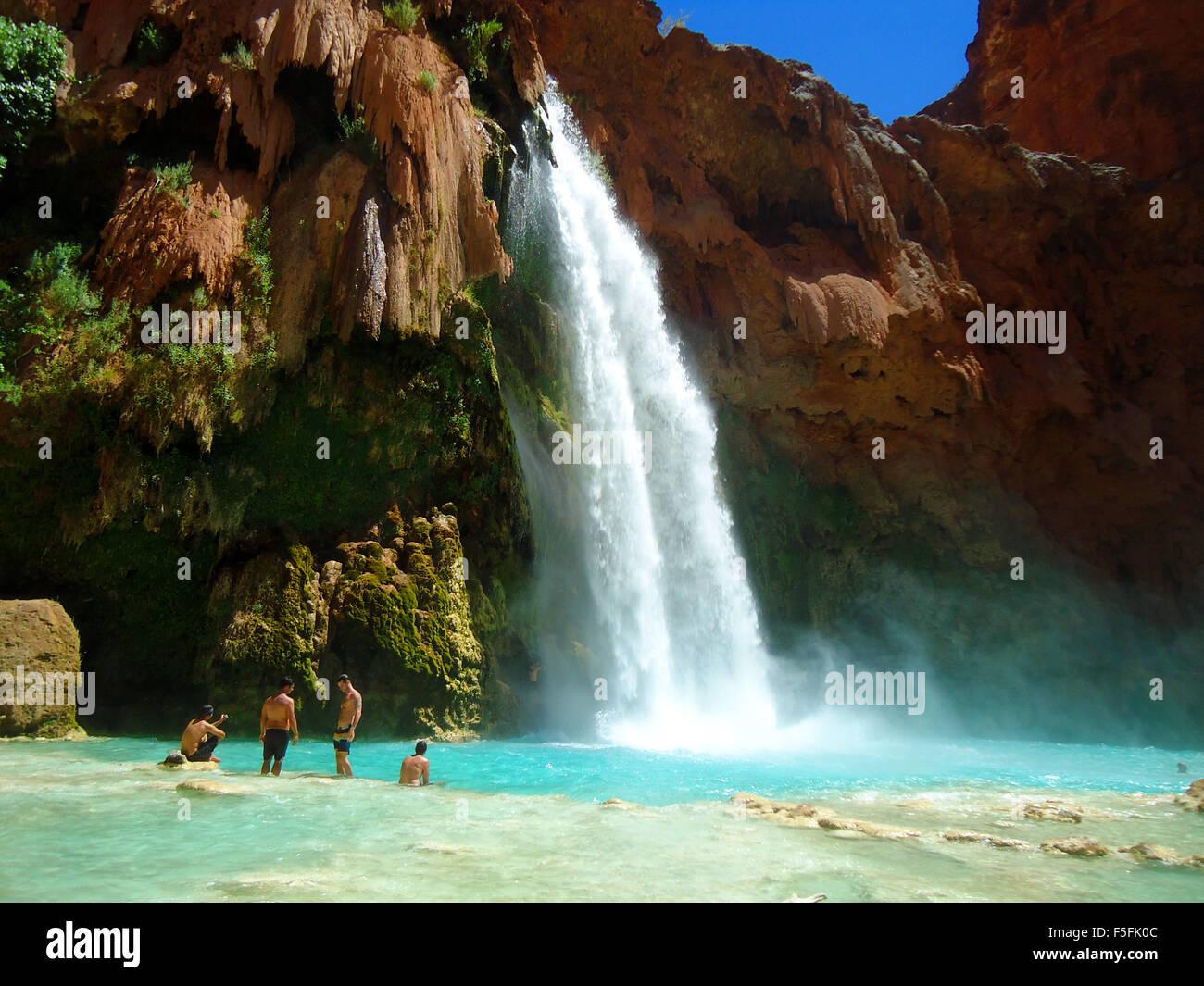 Majestic Waterfalls And Beautiful Scenery On The Havasupai Indian Reservation In Grand Canyon Arizona USA