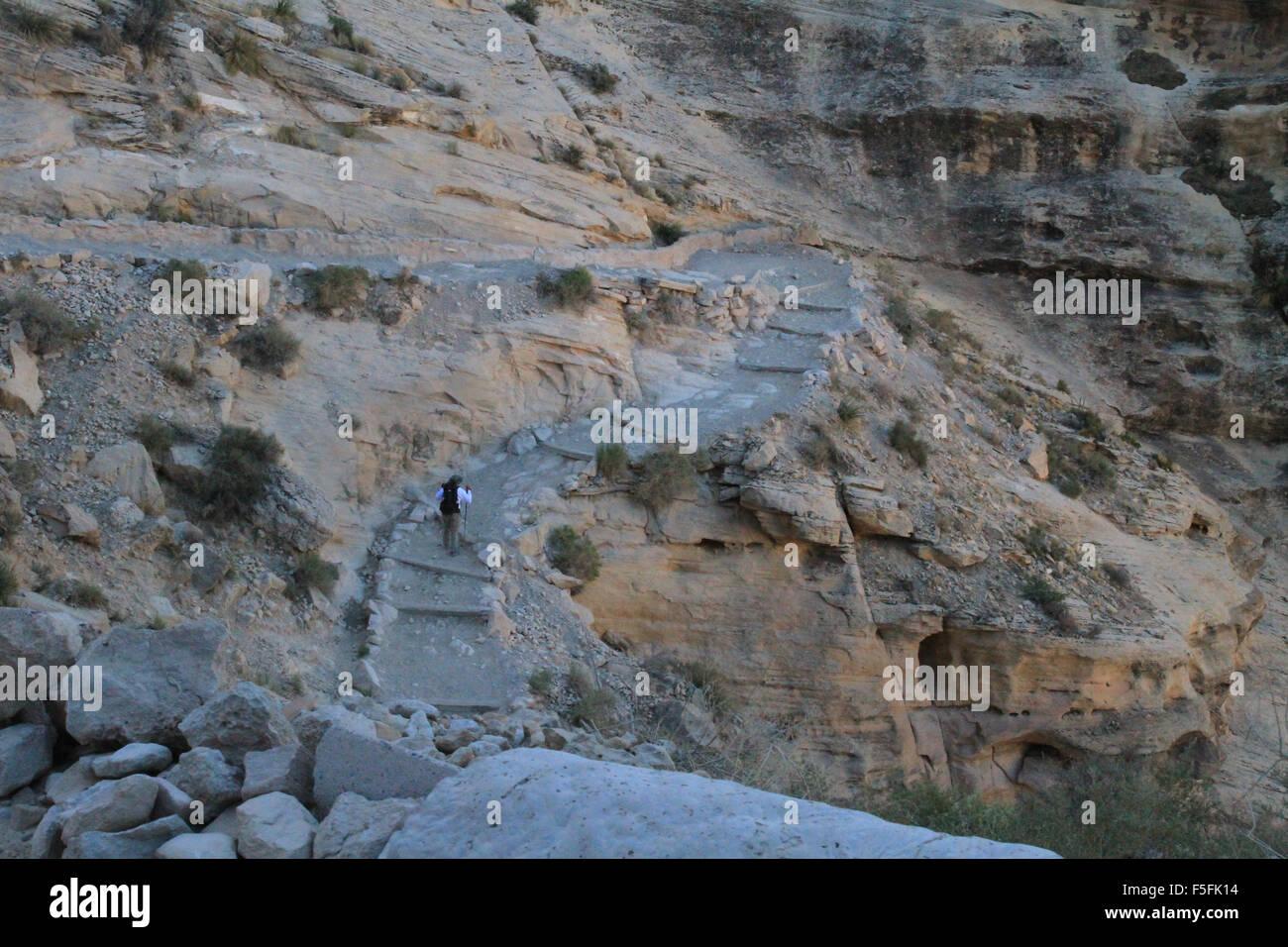the switchbacks of the havasu falls hiking trail on the havasupai