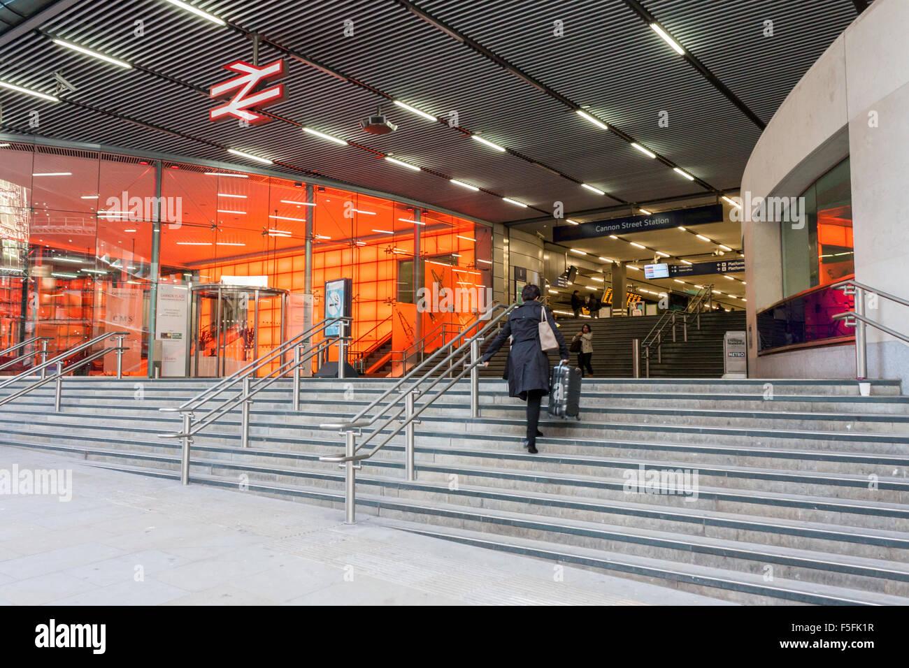 Entrance to Cannon Street tube and railway station , London, England, GB, UK. - Stock Image