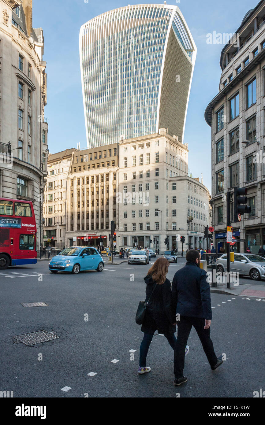 20 Fenchurch Street, by Architect Rafael Viñoly, commonly known as The Walkie-Talkie. London, England, GB, - Stock Image