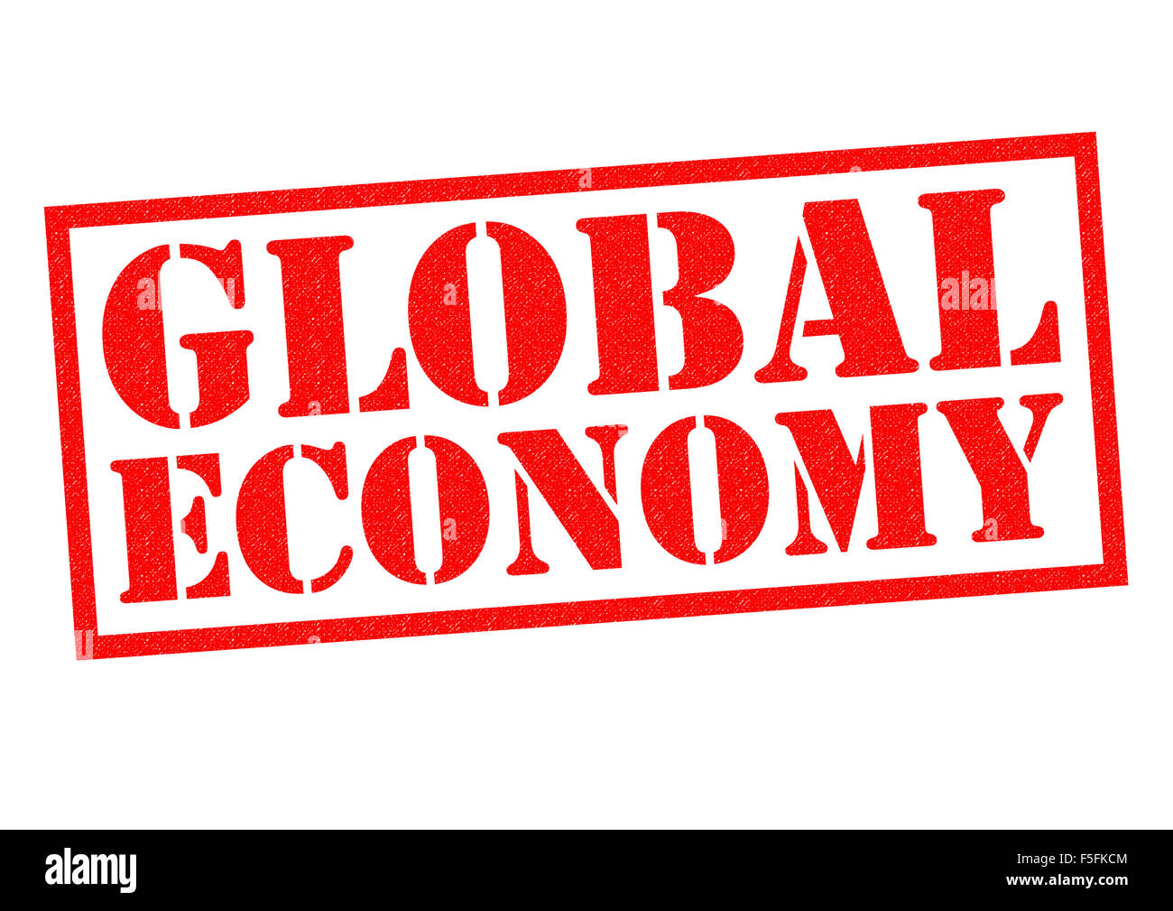 GLOBAL ECONOMY red Rubber Stamp over a white background. - Stock Image