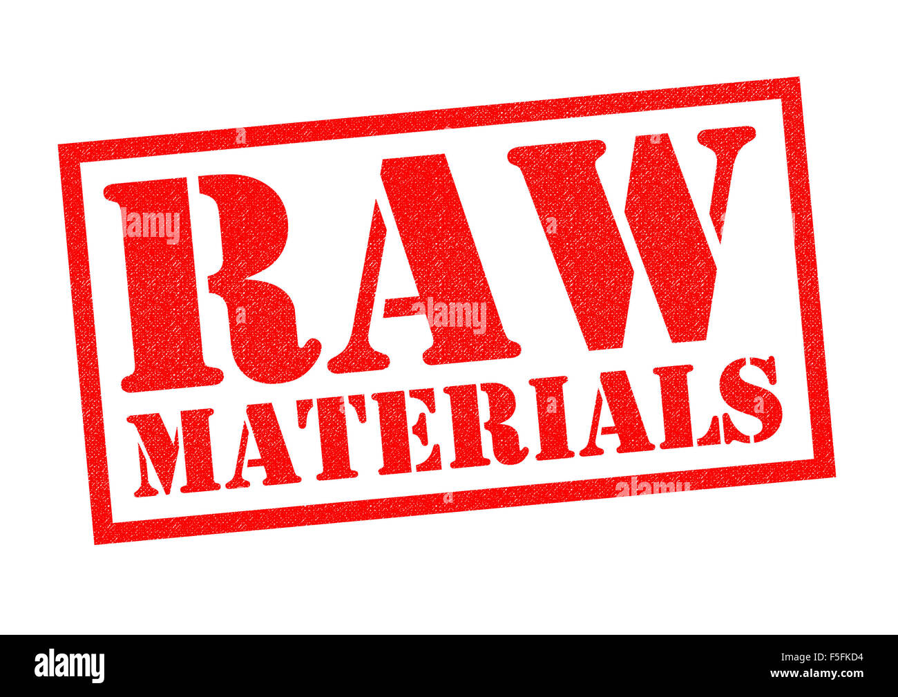 RAW MATERIALS Red Rubber Stamp Over A White Background