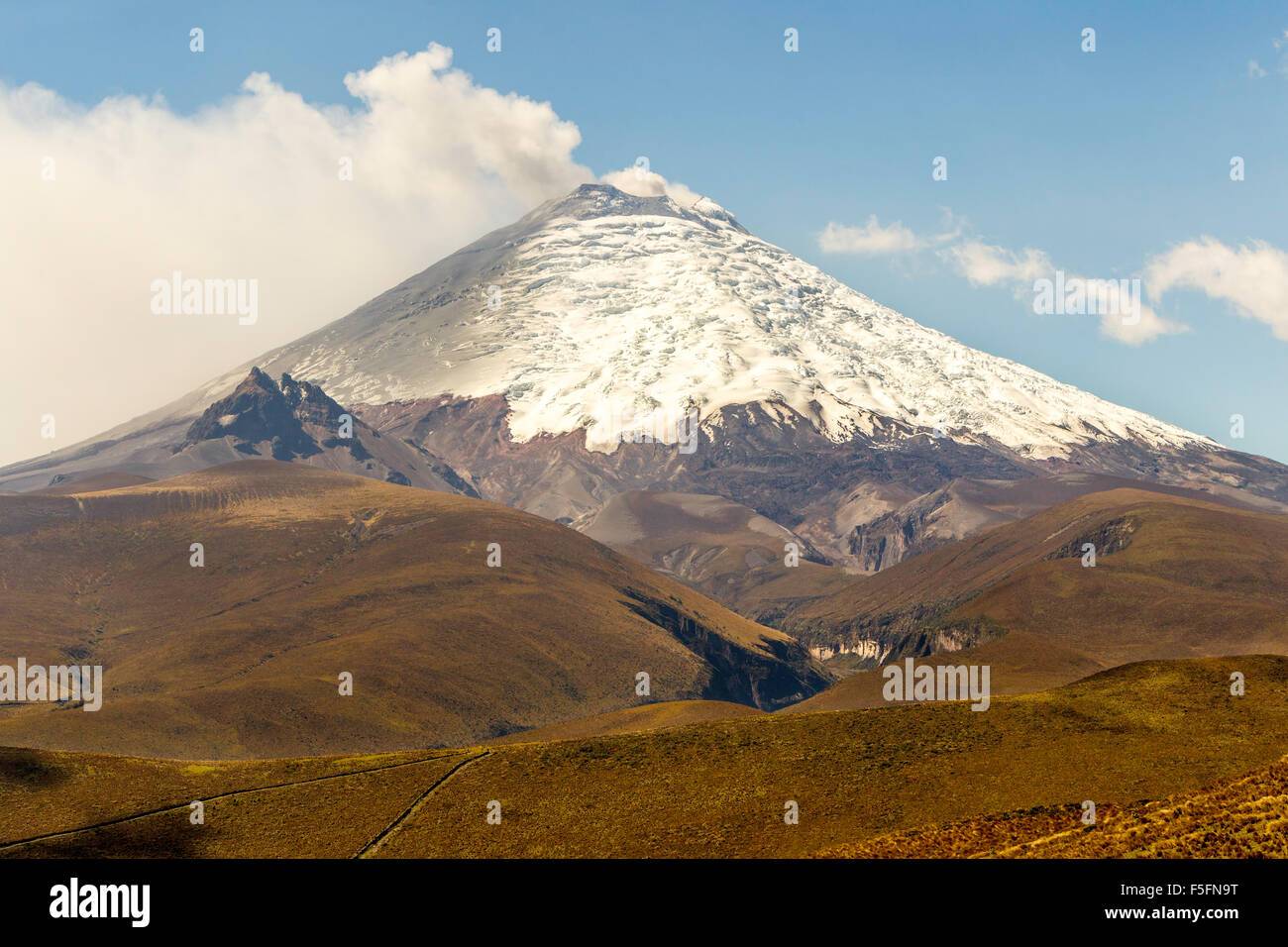 South Side Of Cotopaxi Volcano During 2015 Eruption Vapors Of Water And Ash Blowing Into The Sky - Stock Image