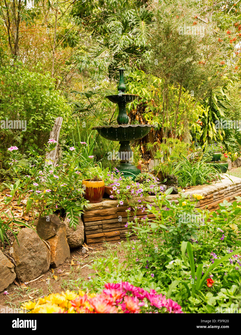 Tropical Gardens Water Fountain Garden Stock Photos & Tropical ...