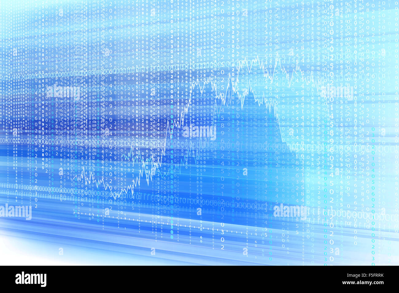 light matrix background and graph with the green blue symbols stock