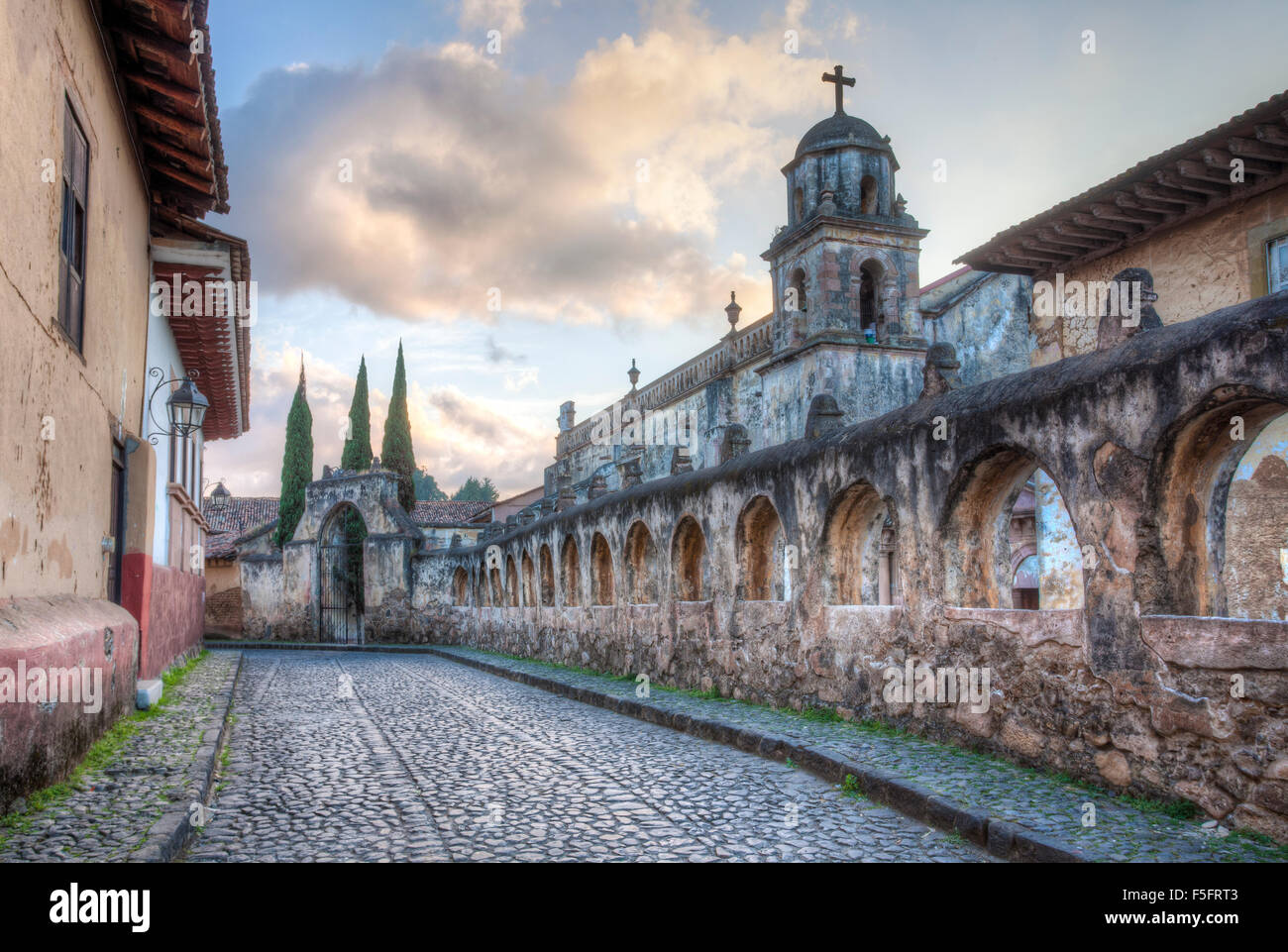 Cobblestone street in the colonial village of Patzcuaro, Michoacan, Mexico. Stock Photo