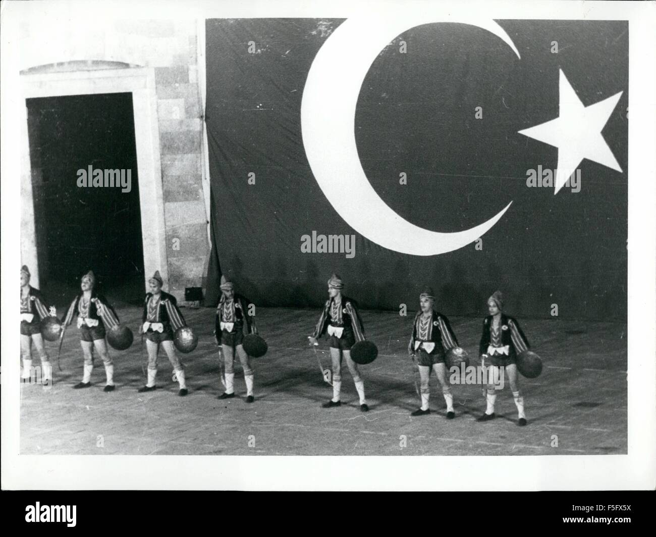 1977 - Turkey's sword and shield dancers Come festival time, Istanbul's big open air theater, is setting - Stock Image
