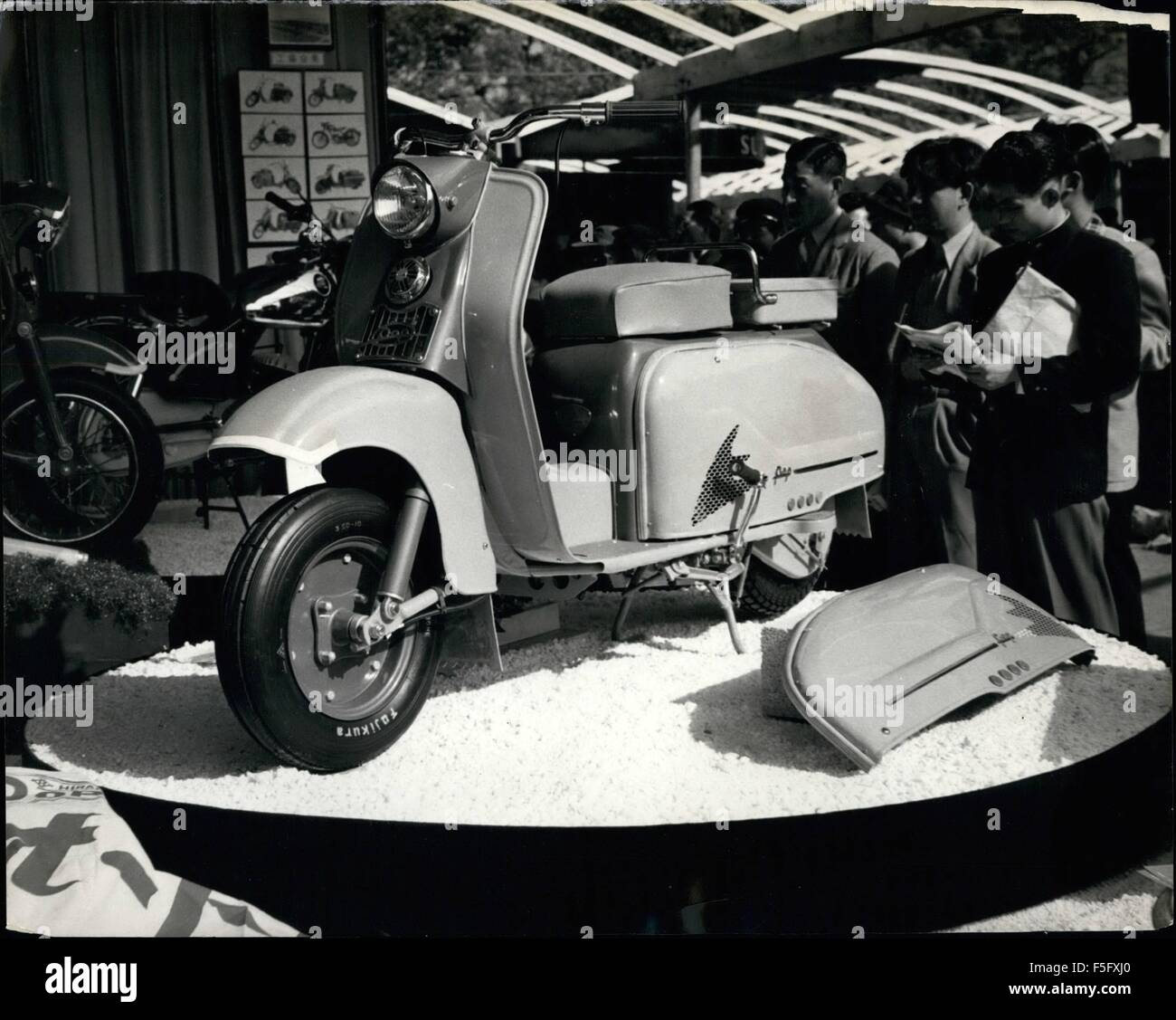 1962 - Japs Like The Motor Scooter: This model on a slow at the Tokyo Motor Show is called ''The Pop''., - Stock Image