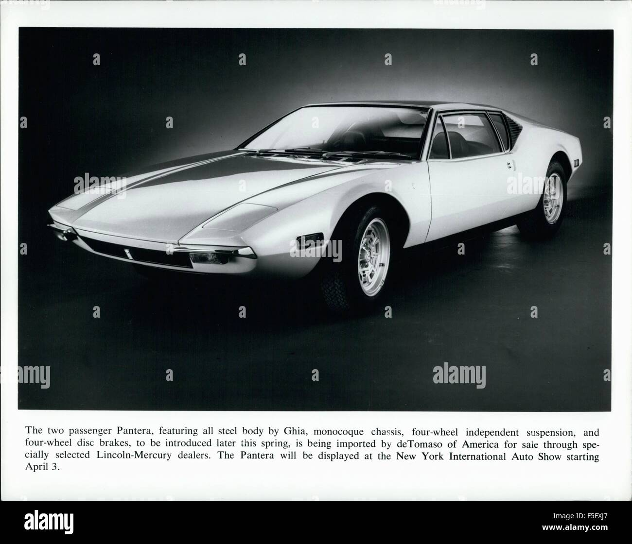 1972 - The two passenger Pantera, featuring all steel body by Ghia, monocoque chassis, four-wheel independent suspension, - Stock Image