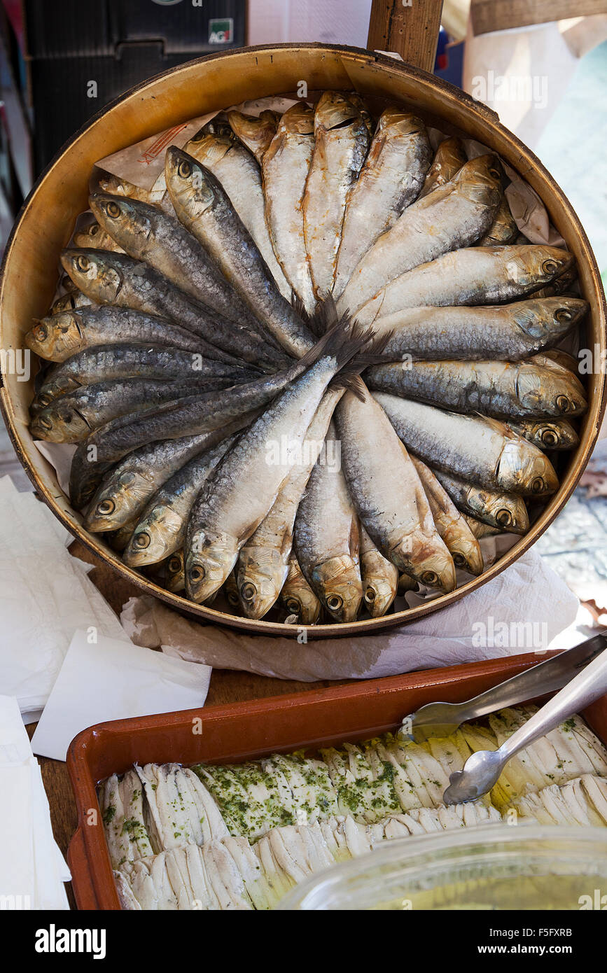 Fish on sale at Pollensa old town market on the island of Majorca, Spain - Stock Image
