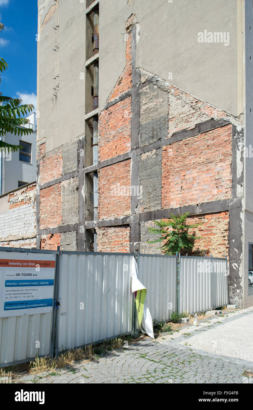 Prague, Czech Republic, fire wall with the remains of a demolished apartment building - Stock Image