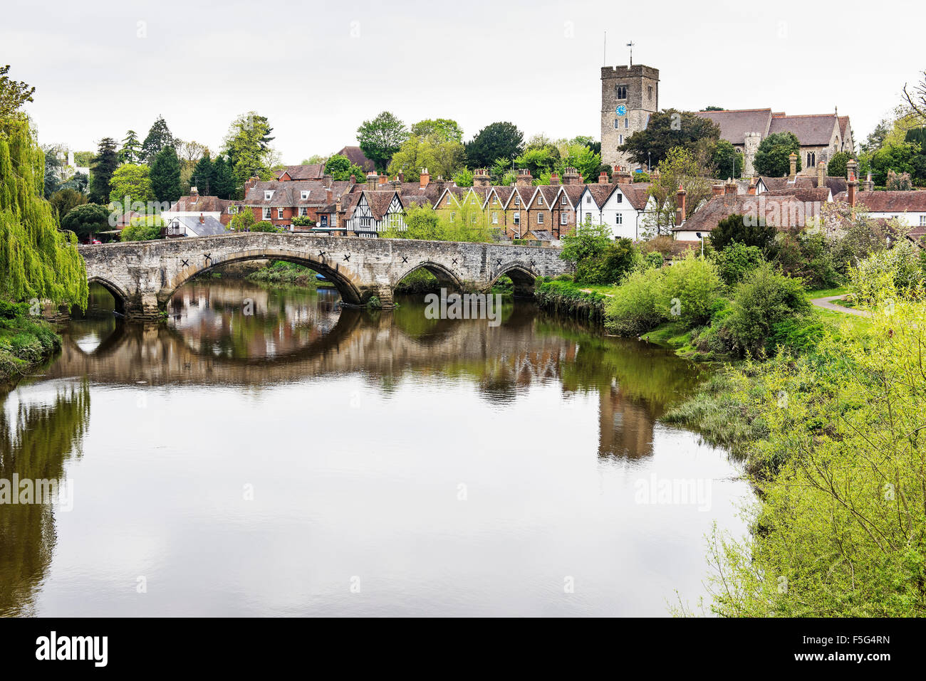 Aylesford and the river Medway - Stock Image