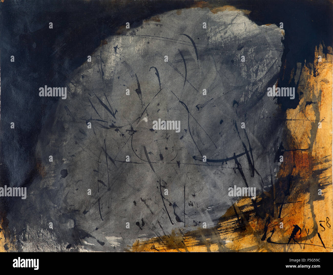 The rock, 1958 (ink and shellac on ingres paper) by Robert Motherwell, american artist (1915-1991) Stock Photo