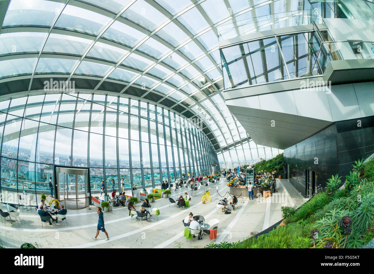 The Sky garden top floor of the Walkie talkie skyscraper building or 20 Fenchurch Street City of London  England - Stock Image