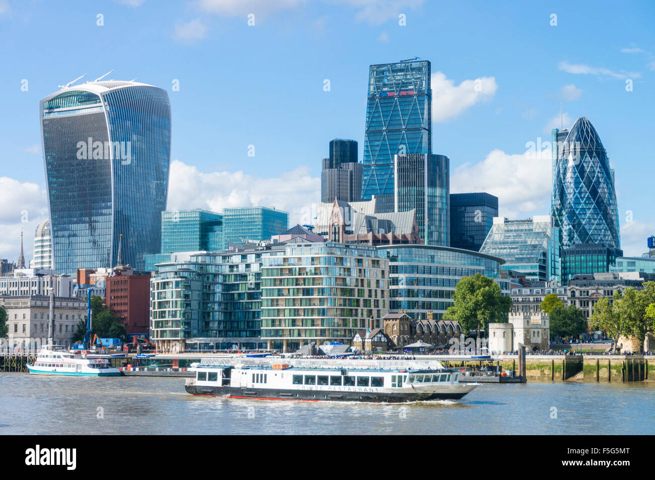 City of London skyline financial district skyscrapers River Thames City of London UK GB EU Europe - Stock Image