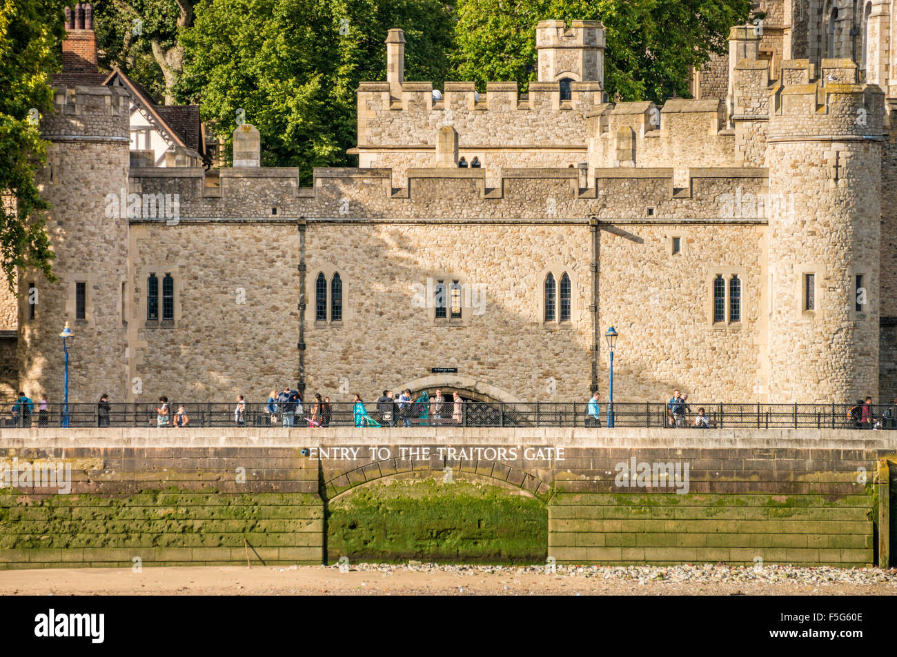 Entry to the Traitors gate and castle walls Tower of London view City of London England GB UK EU Europe - Stock Image