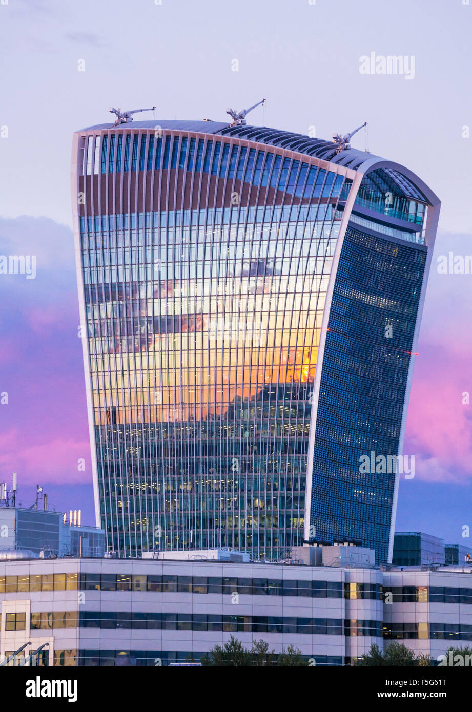 The Walkie talkie skyscraper building or 20 Fenchurch Street at sunset City of London England UK GB EU Europe - Stock Image