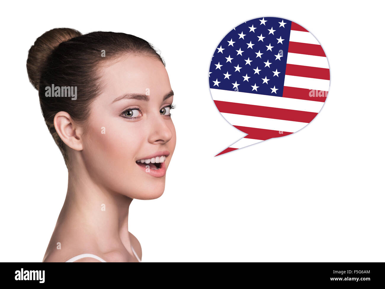 Beautiful woman speak. Bubble country flag - Stock Image