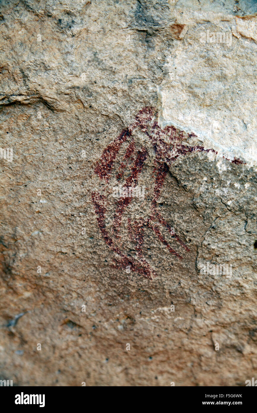 Prehistoric paintings in the cave Portell de les Lletres, near Montblanc, Tarragona, Catalonia, Spain. UNESCO World - Stock Image