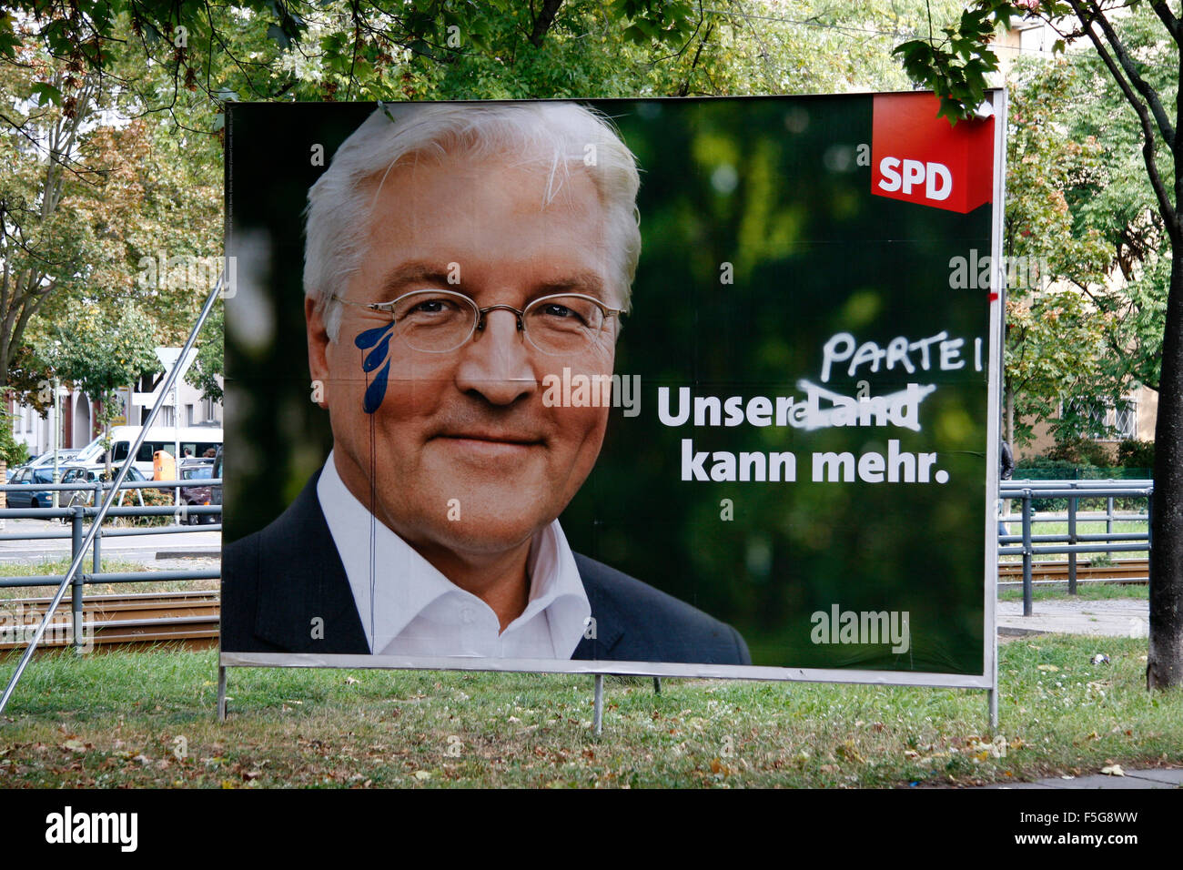 Wahlplakat des unterlegenen SPD-Kanzlerkandidaten Frank-Walter Steinmeier, Berlin. - Stock Image