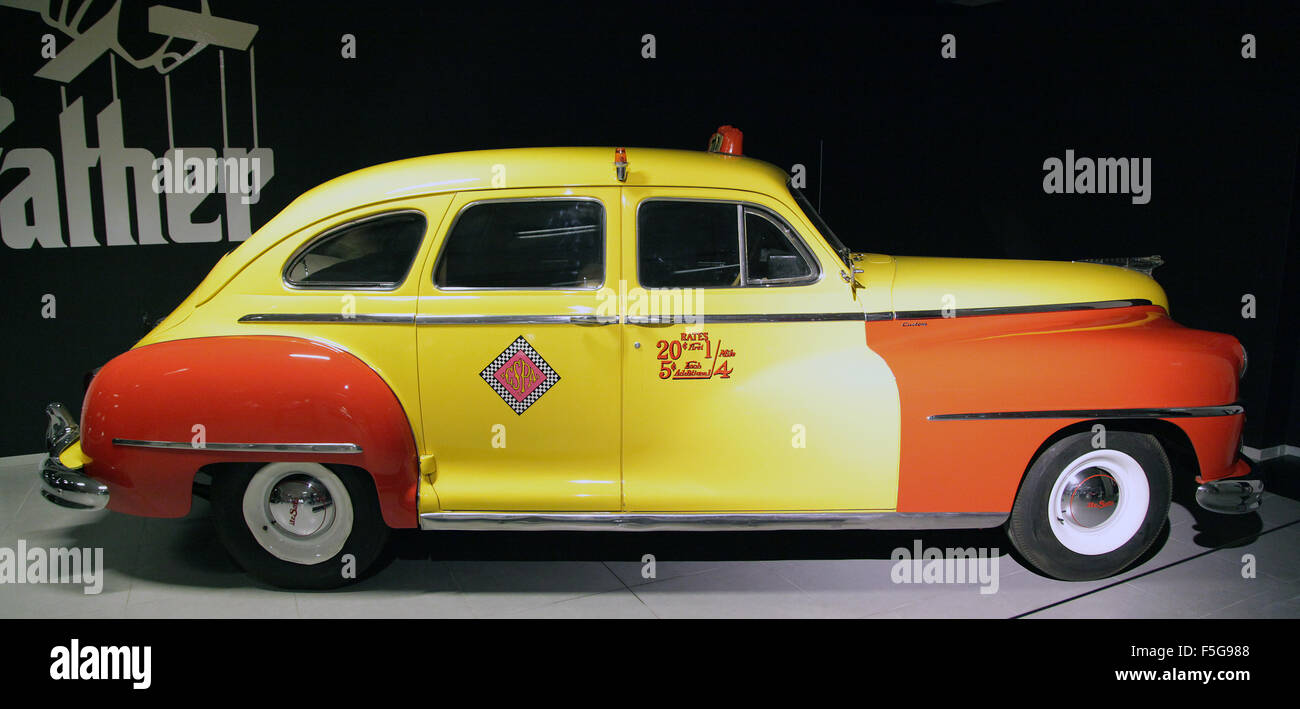 Vintage Veteran car DeSoto custom series s-11c taxicab 1946.six cylinder 3.9 litre 109 HP used in the Godfather - Stock Image