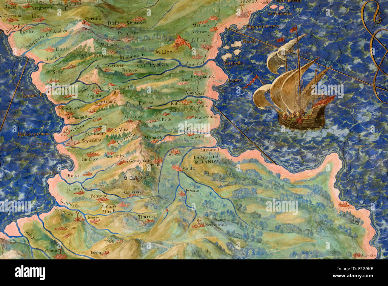 Rome. Italy.  Map of Calabria (detail), Gallery of Maps, Vatican Museums. - Stock Image