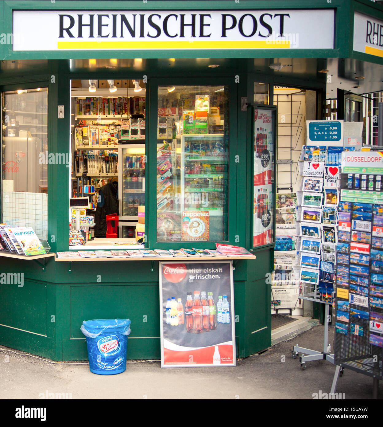 Typical newsstand in Dusseldorf Germany Stock Photo