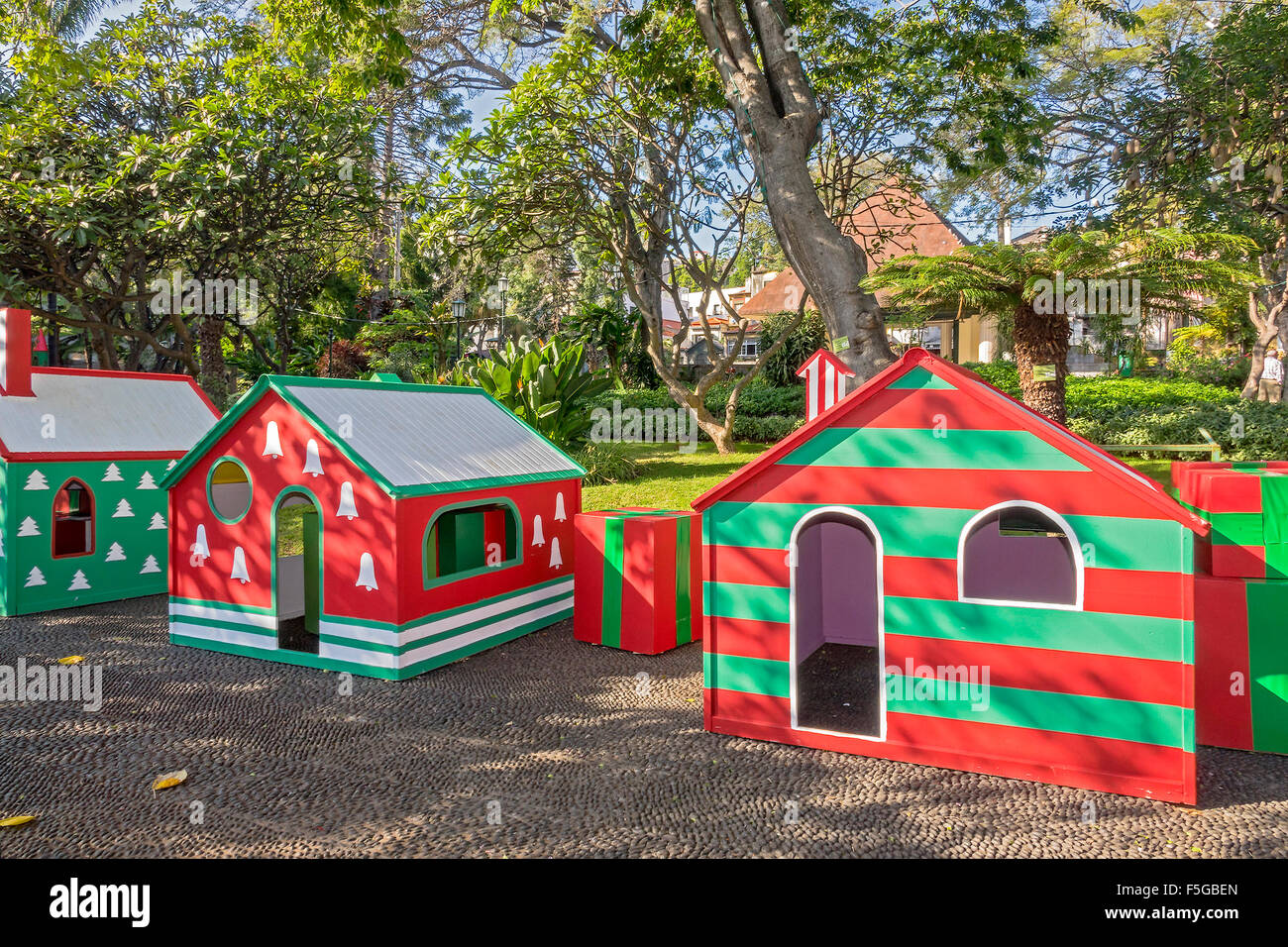 Childrens Play Houses Funchal Madeira Portugal - Stock Image