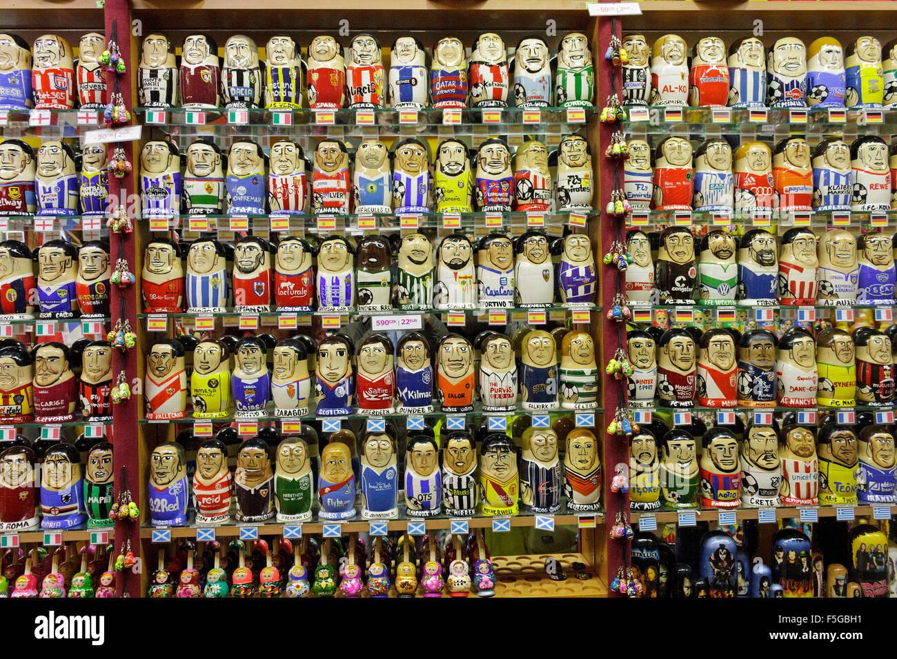 souvenir shop selling Matryoshkas of international football teams, old town, Prague, Czech Republic - Stock Image