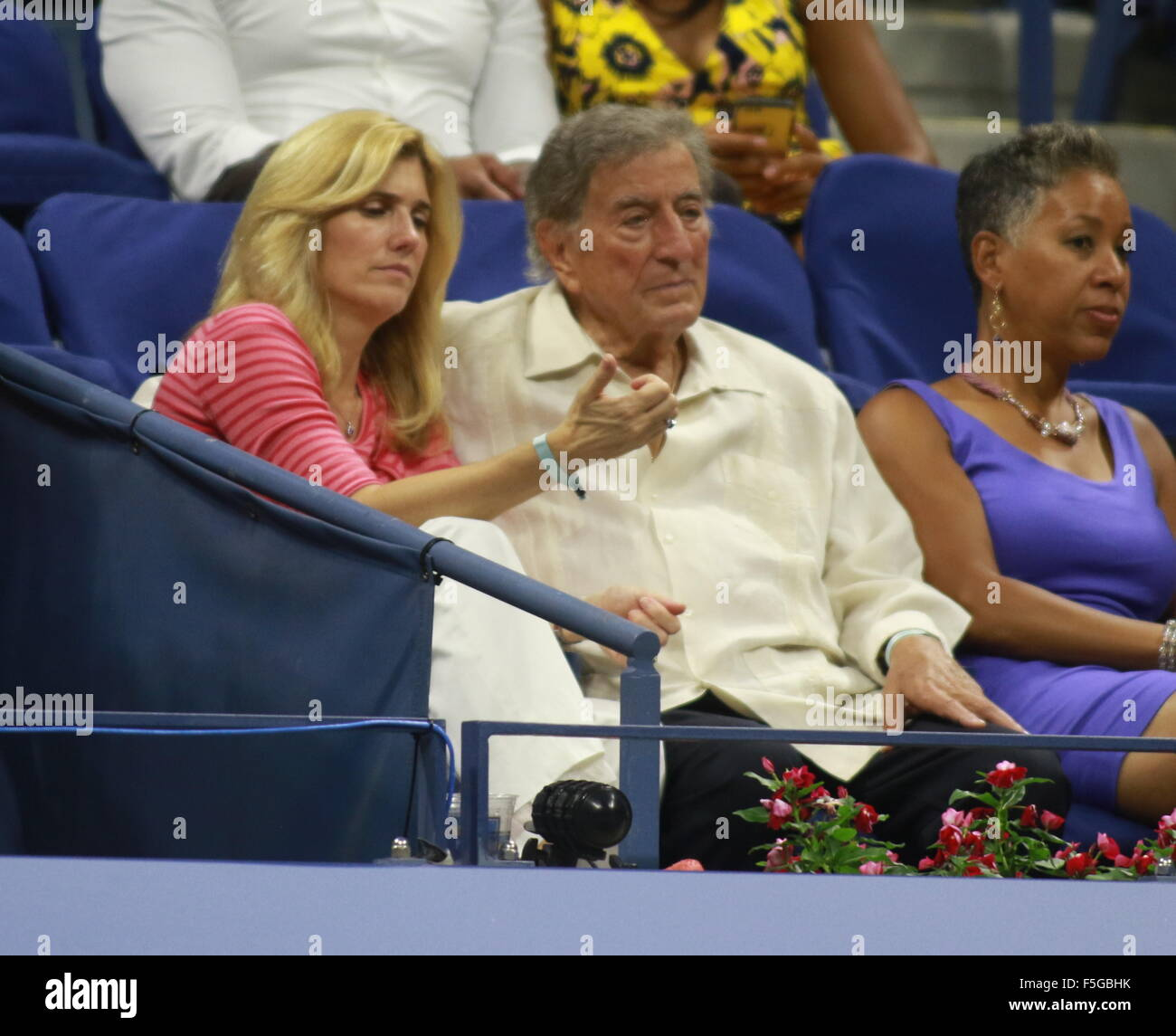 2015 US Open Tennis at the USTA Billie Jean King National Tennis Center - Day 3  Featuring: Tony Bennett, Susan - Stock Image