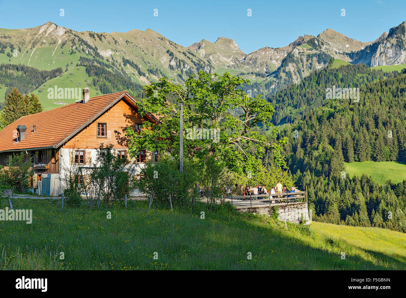 La Pinte de Mossettes is a superb restaurant in the mountains. Cerniat, Gruyère, Switzerland. Stock Photo