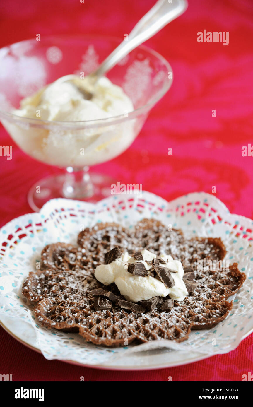 Waffle with chocolate chips and whipped cream Stock Photo