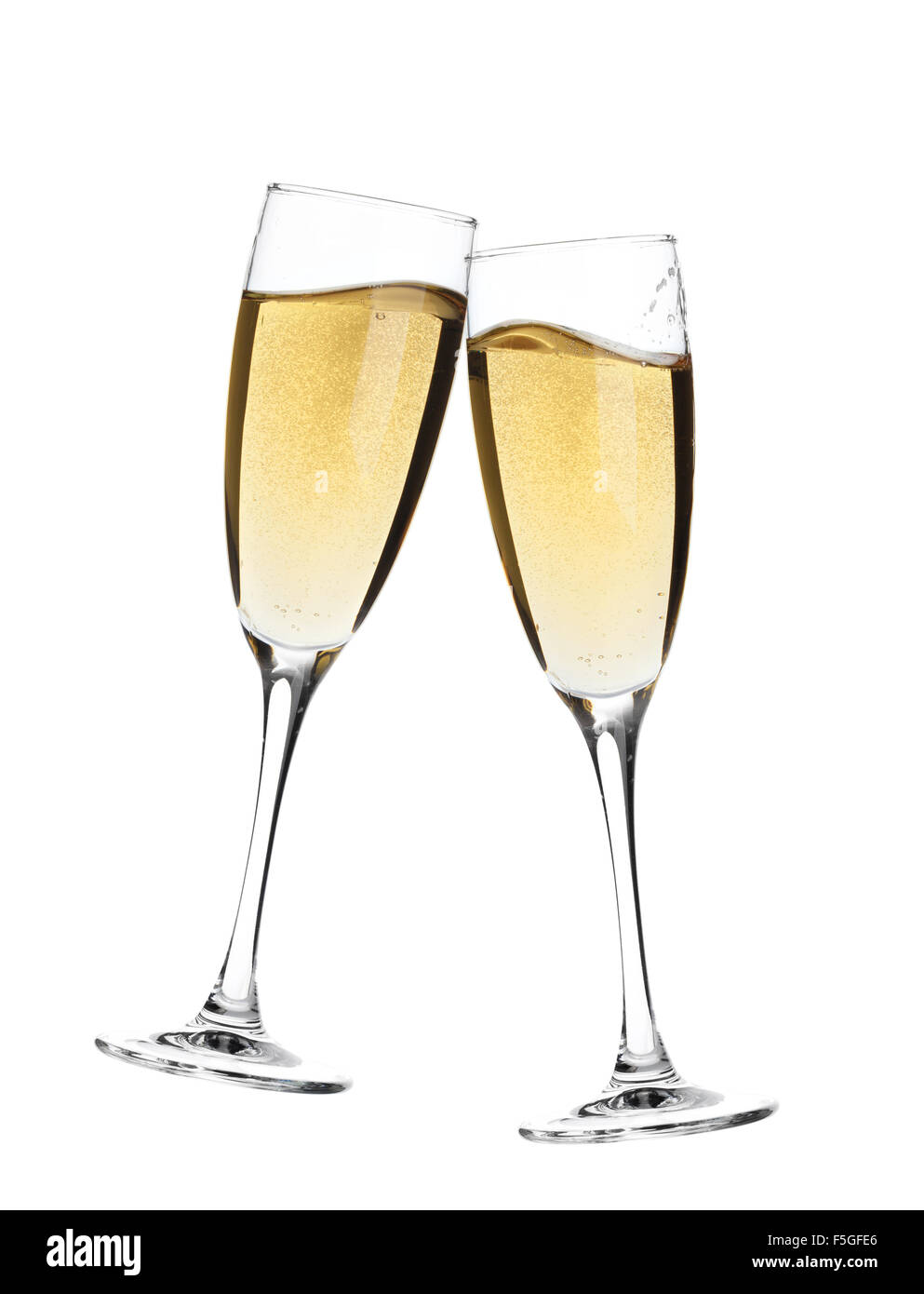 cheers two champagne glasses isolated on white background stock