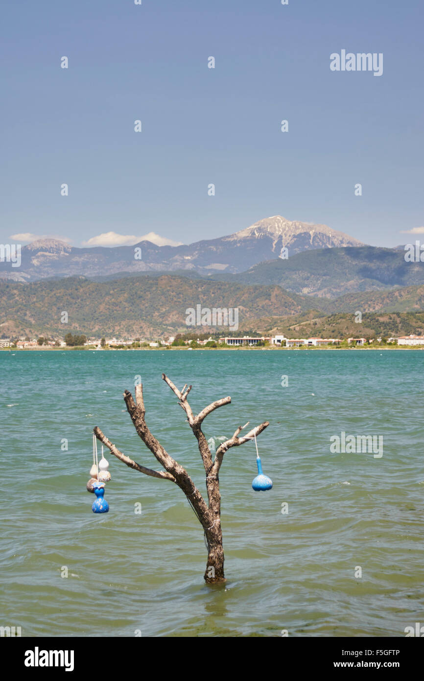 Ornaments hanging from branches of small dead tree in the sea. - Stock Image