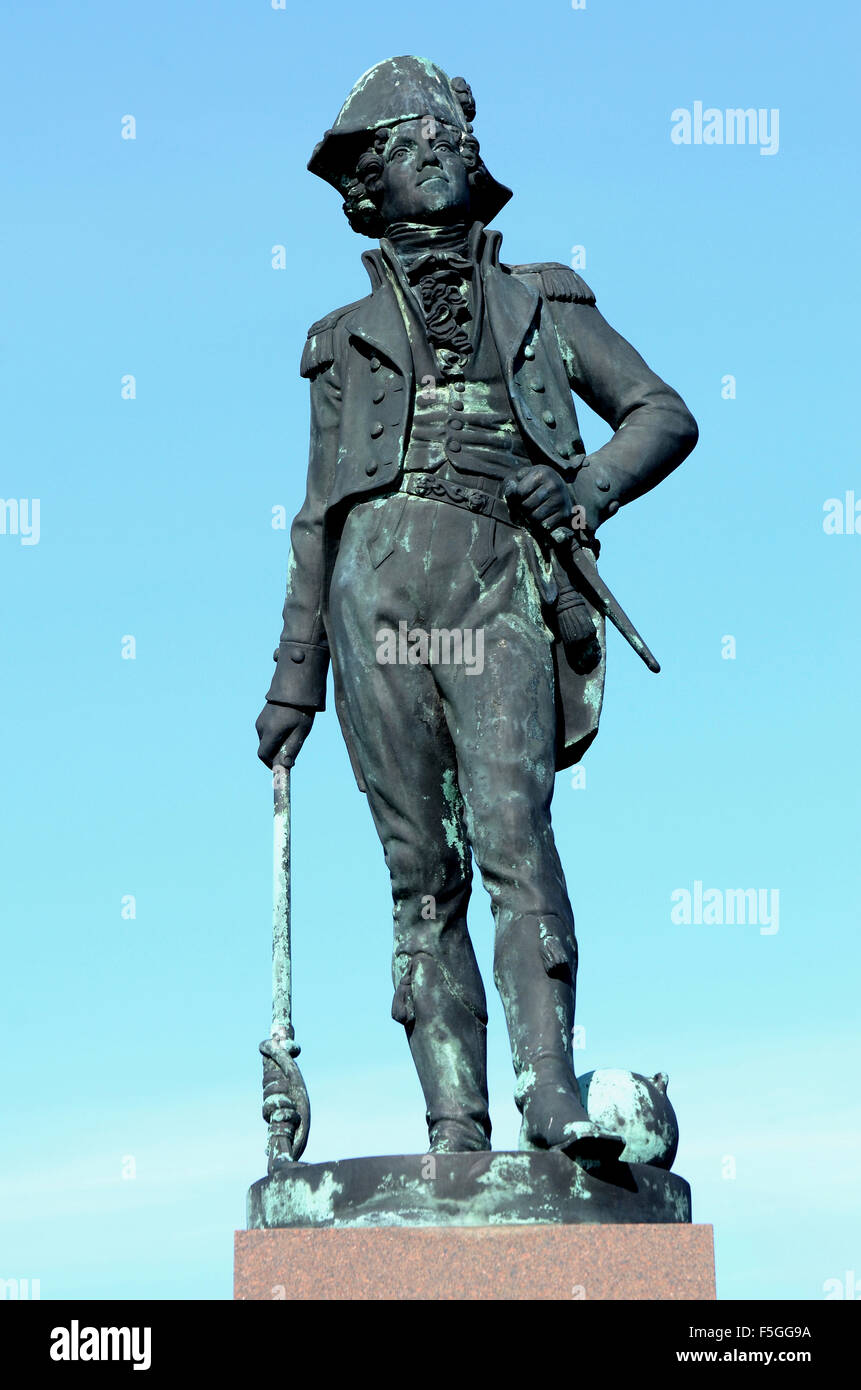 Statue of the Danish sea hero and naval officer in the Royal Danish navy, Peter Willemoes, 1783-1808, Assens, Denmark - Stock Image