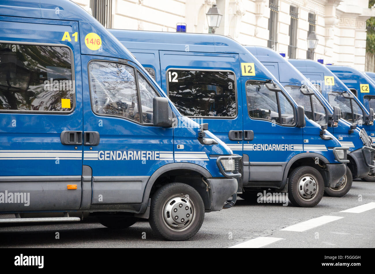 French Police Gendarmerie Vans parked in the national police office - Stock Image