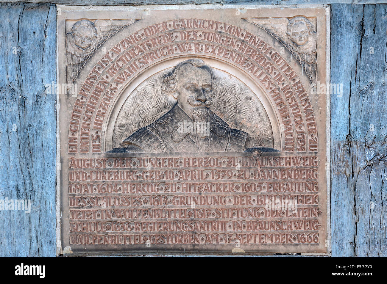 Plaque to August the Younger, Duke of Brunswick and Luneburg, 1579-1666, Lower Saxony, Hitzacker, Germany - Stock Image