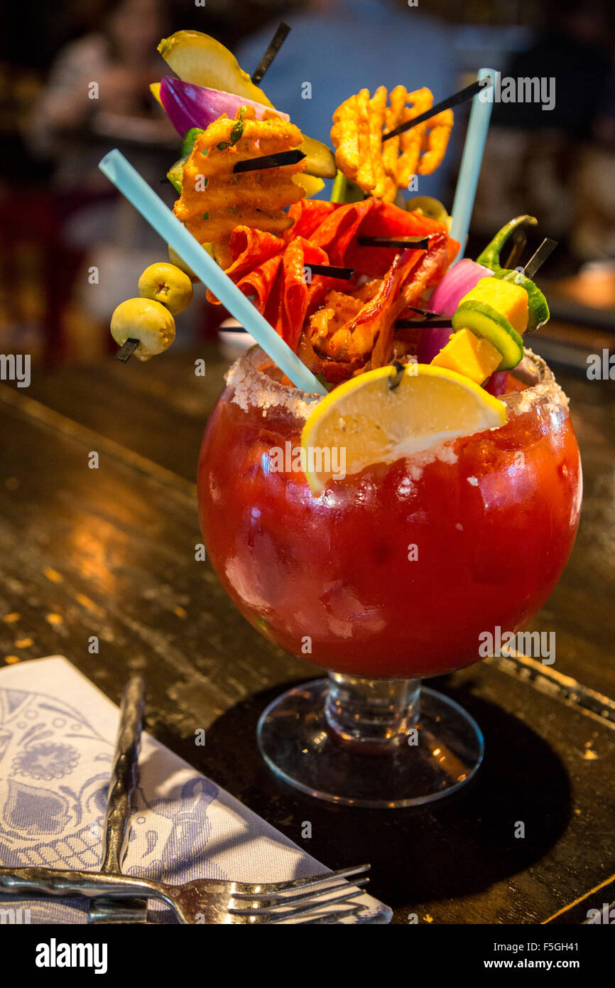 Las Vegas, Nevada.  Guy's Hangover Recovery Bloody Mary, Guy Fieri's Restaurant, The Linq. Stock Photo