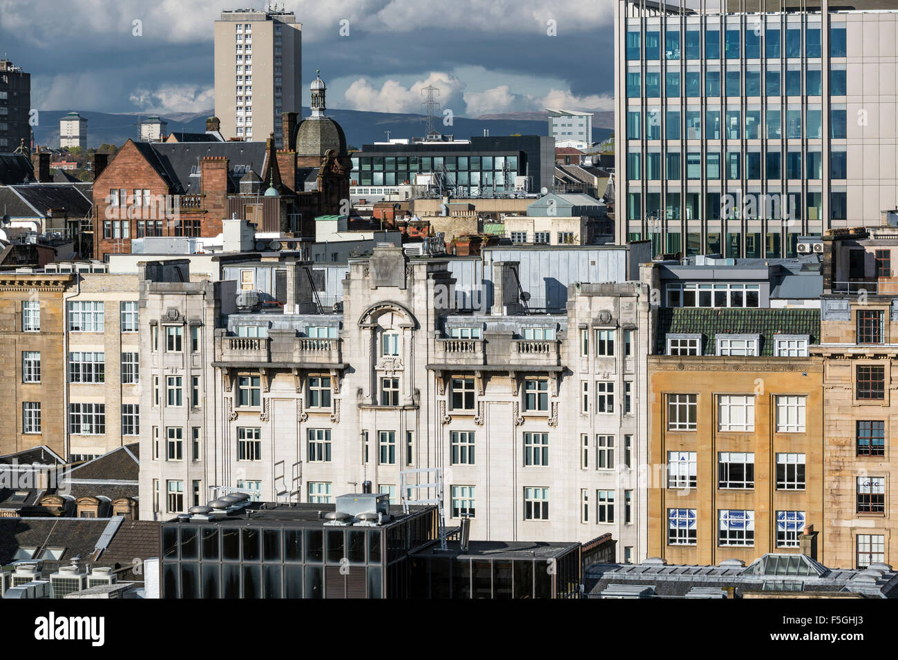 Rooftop view over Glasgow city centre, Scotland, UK - Stock Image
