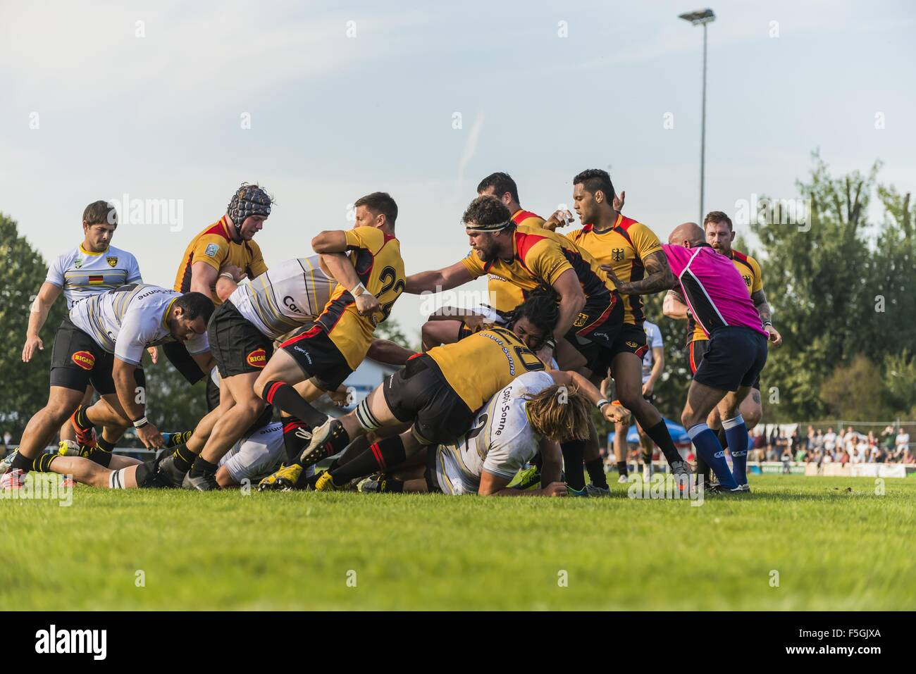 Tackling and ruck, friendly rugby match, Germany against La Rochelle, Fritz-Grunebaum-Sportpark, Heidelberg, Baden - Stock Image