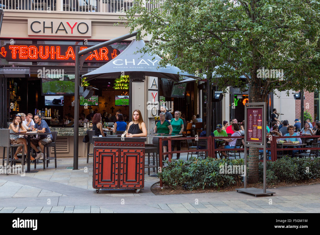 Las Vegas, Nevada.  Chayo Mexican Kitchen and Tequila bar, Outside Tables, The Linq Promenade. Stock Photo