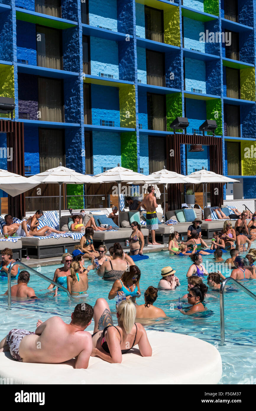 Las Vegas, Nevada. Millennials Relaxing At The Pool, The
