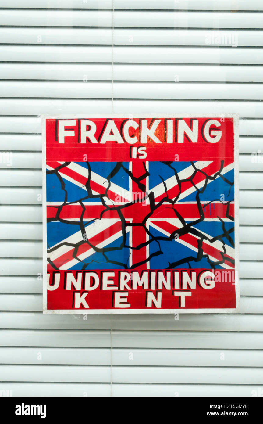 An anti-fracking sign in a Ramsgate window reads Fracking is Undermining Kent. - Stock Image