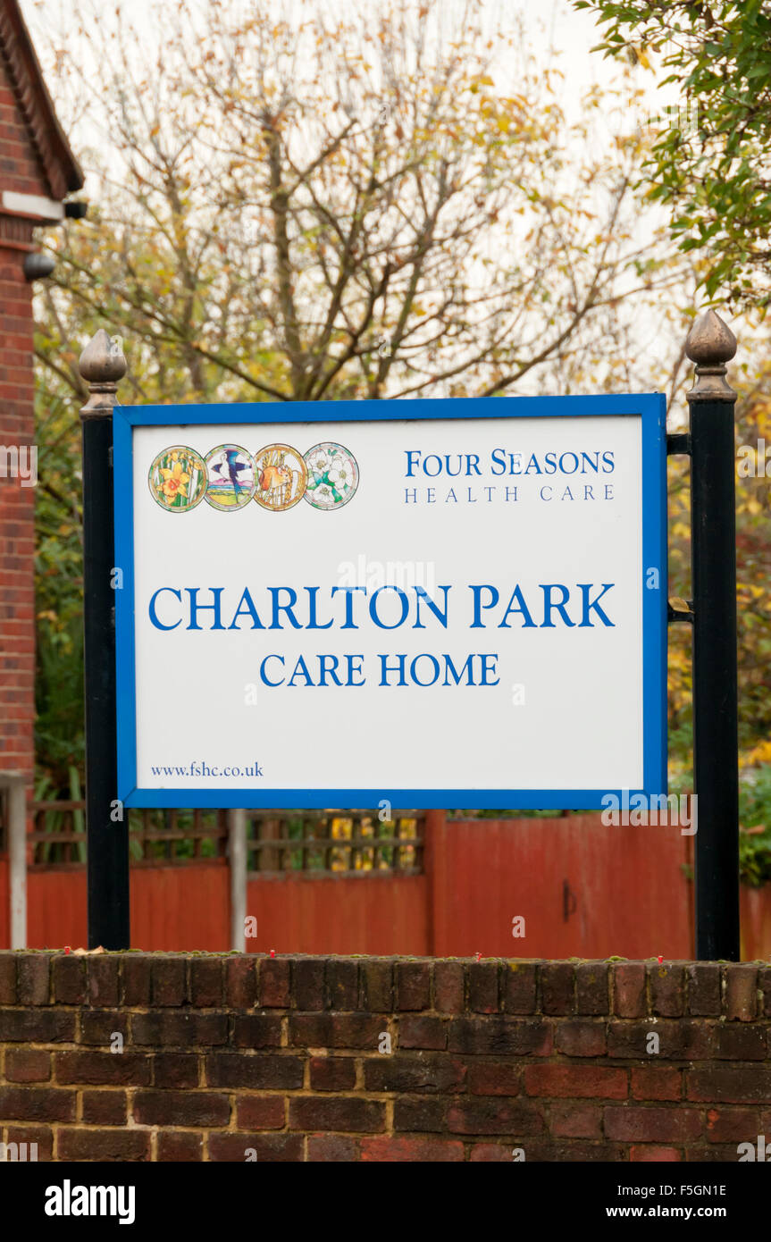 Sign at the entrance to Charlton Park Care Home run by Four Seasons Health Care. - Stock Image